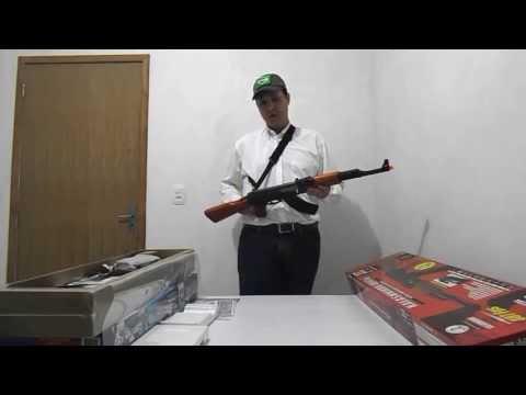 Fuzil airsoft AK47 Full Metal / Madeira de lei + Bateria e Carregador c/ Blowback - CYBERGUn