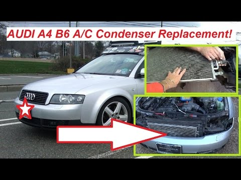 Audi A4 B6 A/C Condenser Removal and Replacement  Air Conditioner Condenser
