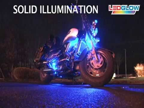 6pc Blue LED Flexible Motorcycle Lighting Kit