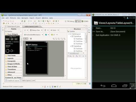 0 Android App Programming | Creating Layouts Using API Demos And The Graphical Layout Editor