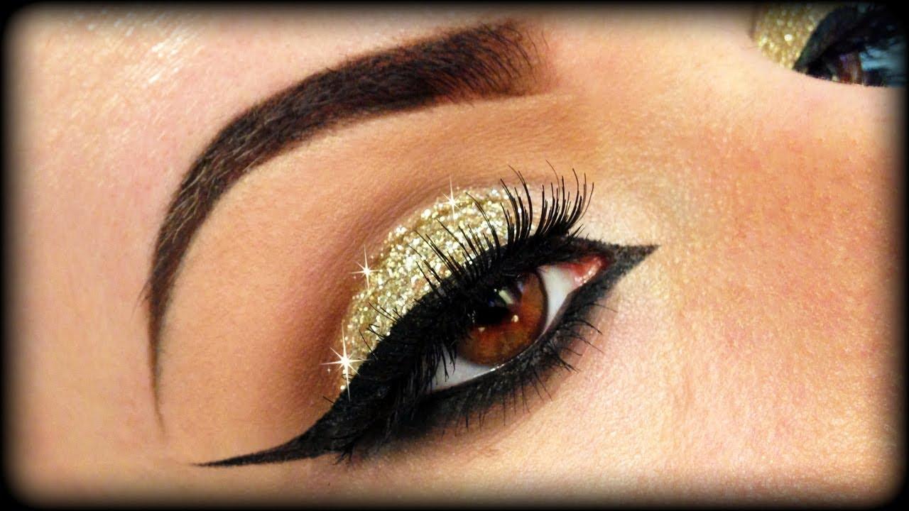 Christmas Makeup Gold Glitter Elegant Tutorial Trucco
