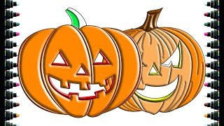 How to drawing Halloween pumpkin part 2 - Drawing and Coloring for kids - be yeu