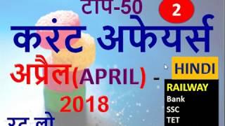 Current Affairs-APRIL 2018(RAILWAY/SSC/Bank/TET/Govt.Exams)