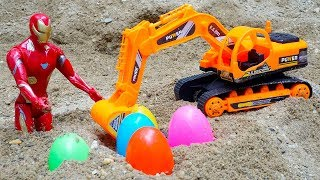Iron Man Rescues Excavator Dump Truck Construction Vehicles Toys for Children | Kids And Toys