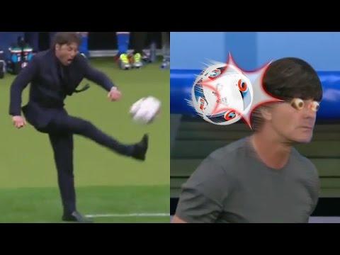 Antonio Conte Angry and Kicks Ball into Joachim Loew Head