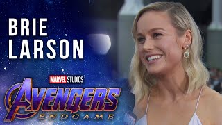 Brie Larson talks Captain Marvel joining the team LIVE from the Avengers: Endgame Premiere