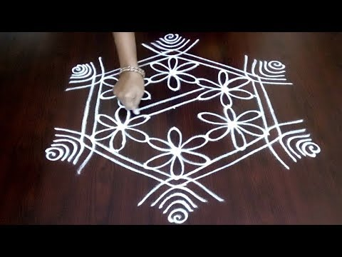 Chukkala Muggulu With Easy 7 x 4 Dots ||  Easy  7 X 4 Rangoli Design || Fashion World
