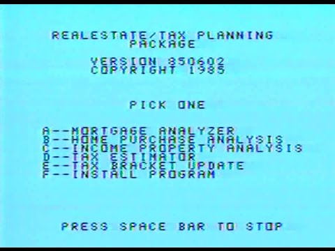 Review and Demonstration of: RealEstate/Tax Investment Plan - for Texas Instruments TI-99/4A -(1998)