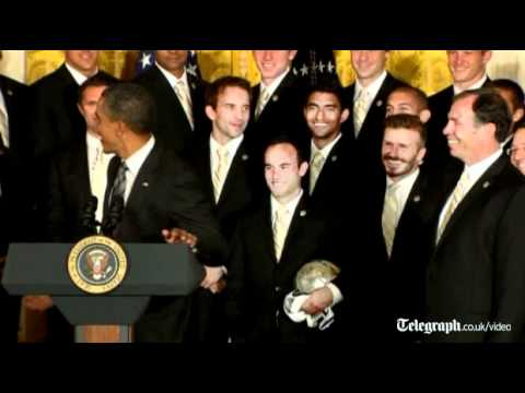US President Barack Obama jokes with David Beckham
