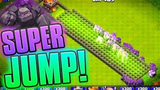 THE LONGEST JUMP! Clash of Clans 300 Golems + JuMp Spells!