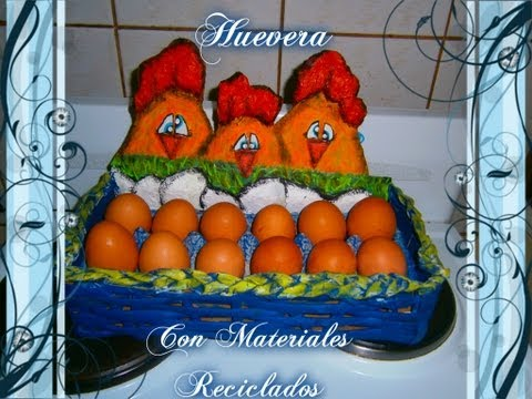 Huevera con Materiales Reciclados.How to make a hen with recycled materials