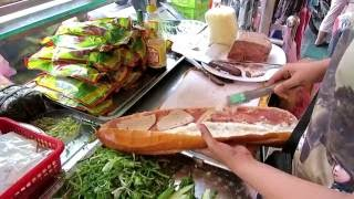 Street Food in Vietnam with GIANT subway sandwich! (Banh Mi)