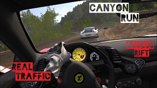 Porsche GT3 RS and 458 Italia Canyon Run - REAL TRAFFIC - VR [Oculus Rift] | Assetto Corsa Gameplay