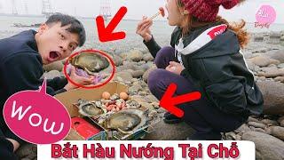 Bắt Hàu bờ Biển Đài Loan và Ăn Sống Tại Chỗ - ( catch seafood ) Ẩm Thực Đài Loan - Lạ Vlog