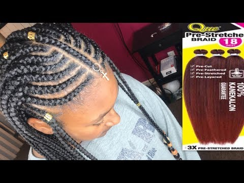 Tribal Feed In Braids with Beads   3X Que Jumbo Pre-Stretched Braid