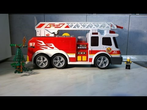 Very cool FIRE ENGINE with lights and sound.Lego fireman and burning tree.fullHD.HD