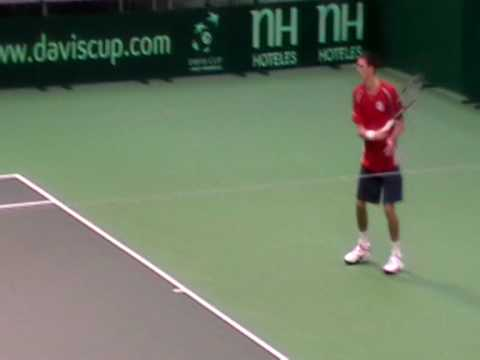 Ross Hutchins and James Ward in practice for GB at Davis Cup