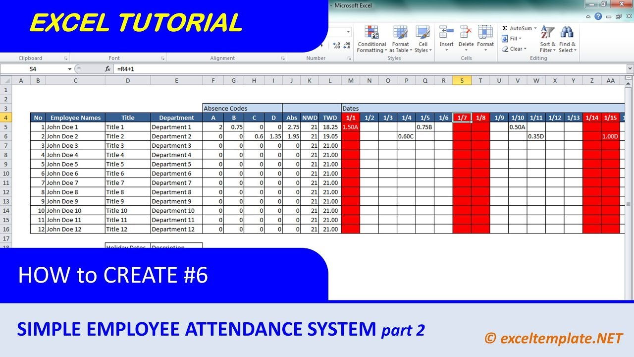 Employee Attendance Planner and Tracker  Excel Templates