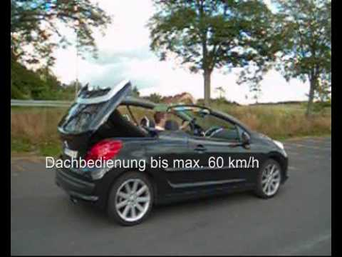 peugeot 207 cc tuning remote roof opening 30 km h youtube. Black Bedroom Furniture Sets. Home Design Ideas