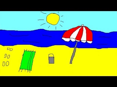 Beach Drawing For Kids