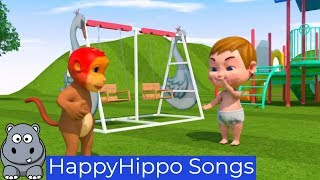 Monkey and Baby Go to the Park Childrens Nursery Rhymes & Baby Songs Happy Hippo