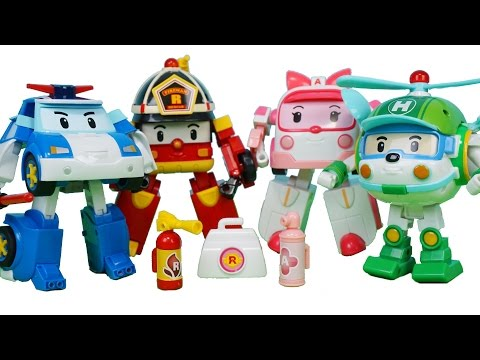 로보카폴리 장난감 변신 폴리 헬리 로이 앰버 디럭스 4종 Робокар Поли  Robocar Poli Trannsformers Car Toys