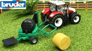 BRUDER TOYS farming - tractor Steyr and balewrapper in action video for kids!