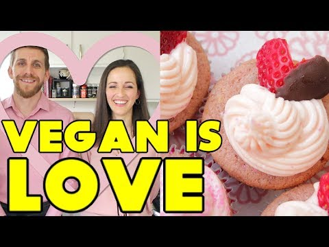 Vegan Is Love | Pink Strawberry Cupcakes for Valentine's Day