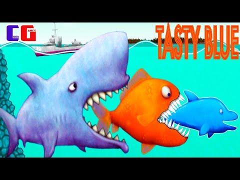 Tasty Blue #9 НАНО-АКУЛА СЪЕЛА ЗУБАСТИКА и ДЕЛЬФИНА! Мультяшная игра для детей СЪЕСТЬ ОКЕАН
