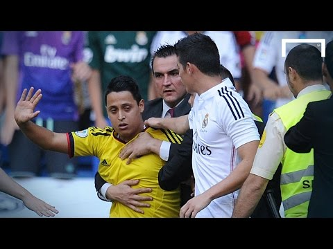 Fans race onto Bernabéu pitch to meet Rodriguez