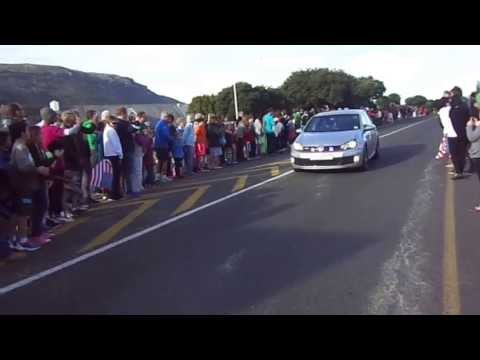 PRESIDENT BARACK OBAMA'S MOTORCADE IN FISH HOEK, CAPE TOWN