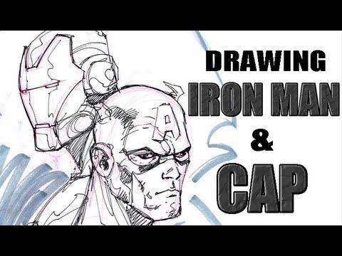 Man Cartoon Drawing Drawing Iron Man And Captain