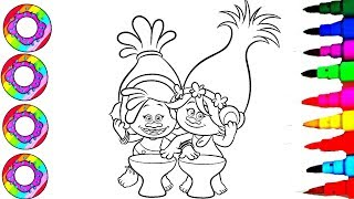 Colouring Drawings Disney Trolls DJ Suki and Poppy in Sparkle Rainbow Drums Coloring Pages