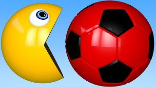 Learn Colors PACMAN and 3D Soccer Ball for Kid Children
