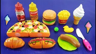 Box of Foods - Pizza, Bargar, Ice cream, Hot Dog, French Fries - Fast Food Toys Compilation For Kids