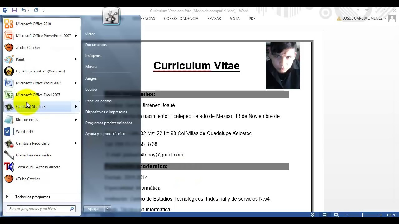 como hacer un curriculum vitae en word 2013