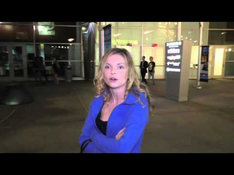Izabella Miko talks about Taylor Swift Banner at Staples Center as she leaves ArcLight Theatre in Ho