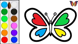 How to draw a BUTTERFLY / cartoon coloring BUTTERFLY for children / Coloring for kids