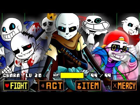GENOCIDE BATTLE with EVERY AU SANS (at once!) | Undertale: Ink Sans Fight