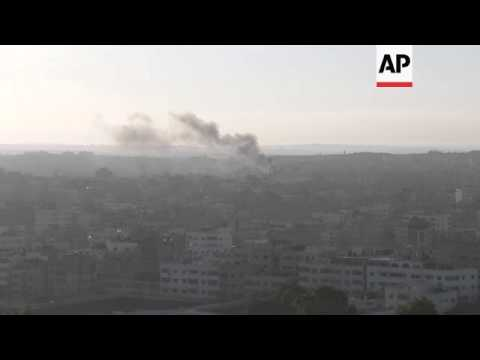 Gaza militants resumed rocket attacks and Israel retaliated with airstrikes on Saturday morning, a d