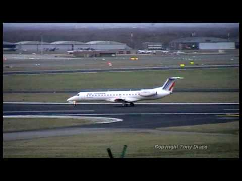 Landing Embraer ERJ145 Air France Brussels Airport