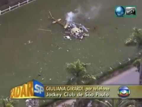 Helicóptero da Globo filma queda do Helicóptero da tv Record