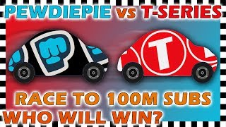 PewDiePie vs T Series Car Race to 100 Million Subscribers - Algodoo