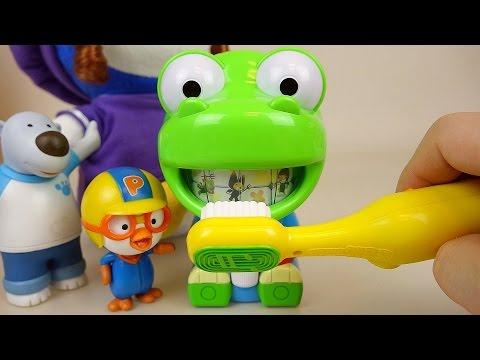 Brush teeth play with Pororo Larva toys 뽀로로 치카치카 놀이
