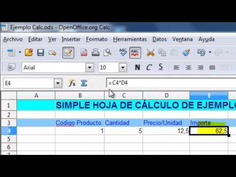 OpenOffice Calc. Sencilla hoja de cálculo