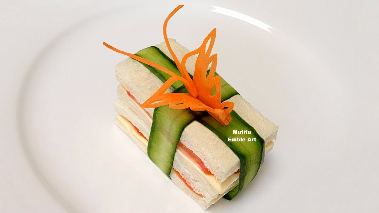 How to make a butterfly from carrot garnish on sandwich