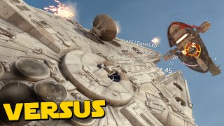 Star Wars Battlefront Gameplay - Millennium Falcon VS Slave 1! - Fighter Squadron