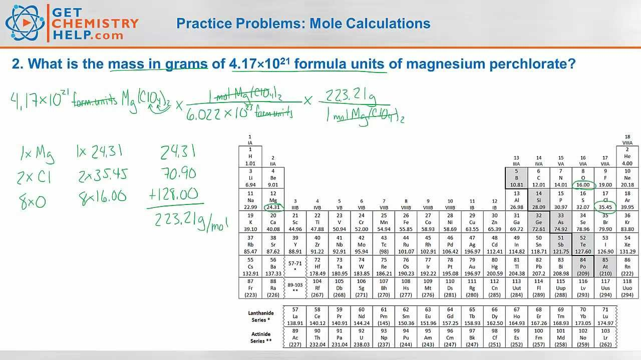 chemistry practice problems  mole calculations