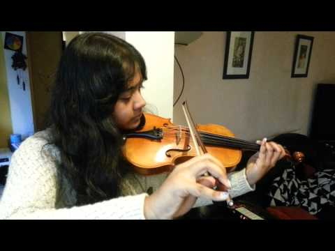 Triya playing Kotobaro bhebechinu on the violin