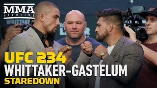 UFC 234: Robert Whittaker vs. Kelvin Gastelum Press Conference Staredown - MMA Fighting
